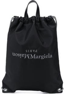 Maison Margiela Inverted Logo Drawstring Backpack - Preto