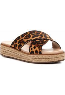 Sandália Couro Shoestock Flatform Tiras Cruzadas Feminina - Feminino-Onça