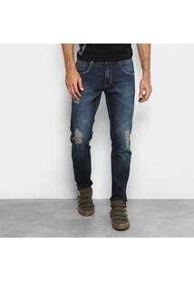 Calça Jeans Skinny Forum Estonada Rasgos Masculino - Masculino-Azul