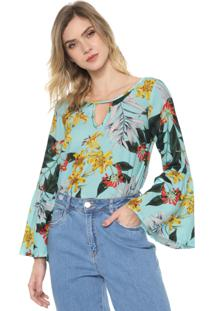 Blusa Mercatto Floral Verde/Amarela