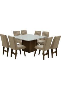 Conjunto De Mesa Para Sala De Jantar Com 8 Cadeiras Creta-Dobue - Castanho / Branco Off / Bege Bord