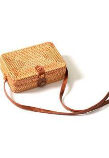 Bolsa De Palha Mini Bag Quadrada Em Rattan Com Couro Pu - Feminino-Bege