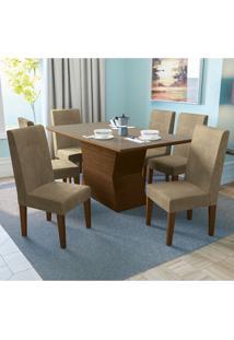 Conjunto De Mesa De Jantar Com 6 Cadeiras Franz Suede Bege E Off White