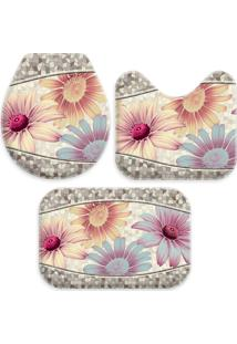 Jogo Tapetes Love Decor Para Banheiro Beautiful Flowers Multicolorido Único - Kanui