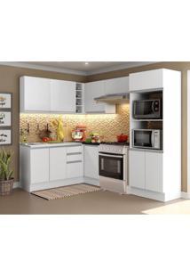 Cozinha Completa Madesa 100% Mdf Acordes Glamy De Canto Portas Branco Brilho (Sem Tampo E Pia)
