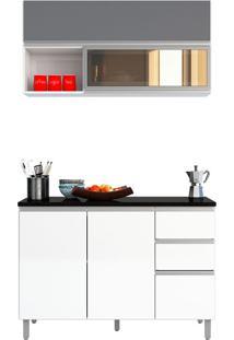 Cozinha Modulada 5 Portas E 2 Gavetas Evidence-Poliman - Branco / Prata
