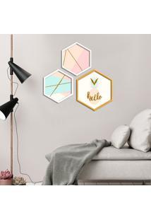 Kit 2 Quadros Com Moldura Hexagonal Hello