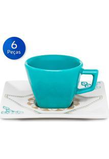 Conjunto De Xícaras De Café Com Pires 6 Peças Quartier Domo - Oxford - Branco / Azul