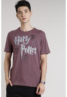 Camiseta Masculina Harry Potter Manga Curta Gola Careca Vinho