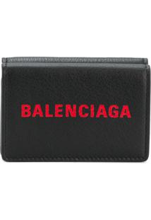 Balenciaga Carteira De Couro Com Logo - Preto