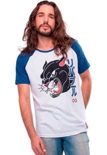 Camiseta Raglan Pantera Liverpool Masculina - Masculino-Branco