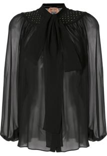 Nº21 Sheer Effect Pussy Bow Blouse - Preto