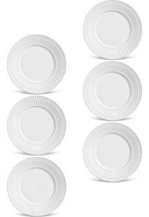 Conjunto De Pratos De Sobremesa Porto Brasil Roma 6Pçs Branco