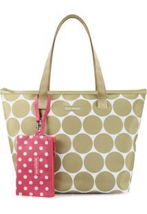 Bolsa Com Niqueleira- Bege & Branca- 27X40X14Cm-Jacki Design
