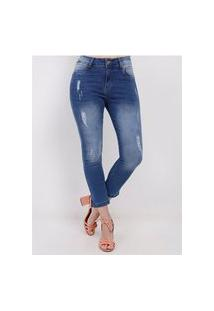 Calça Capri Jeans Feminina Azul