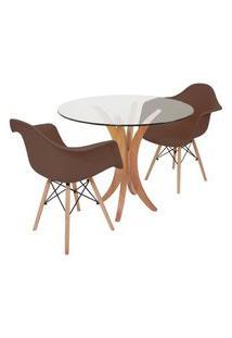 Conjunto Mesa De Jantar Tampo De Vidro 90Cm Com 2 Cadeiras Eiffel Com Braço - Marrom