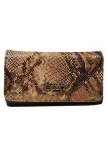 Carteira Feminina Em Couro Recuo Fashion Bag Cobra Rosa