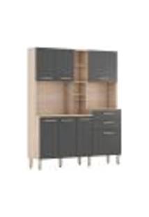 Cozinha Compacta 7 Portas 2 Gavetas Encanto 97201 Avena Grafito Demobile