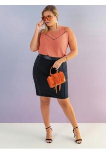 Blusa Plus Size Sem Manga Laranja