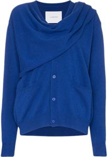 Pushbutton Cardigan Drapeado - Azul