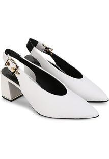 Scarpin Couro Jorge Bischoff Chanel - Feminino-Branco