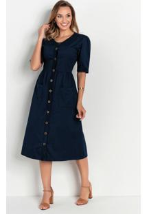 Vestido Azul Com Bolsos Moda Evangélica