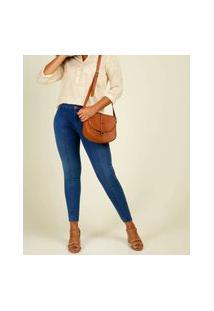 Calça Jeans Skinny Recortes Feminina