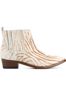 Golden Goose Deluxe Brand Ankle Boot De Couro Com Estampa De Zebra - Neutro