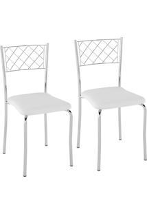 Kit C/ 2 Cadeiras Assento Branco Pozza