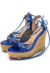 Sandália Anabela Azul Marinho Metalizado - Tricae