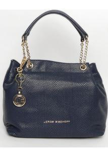 Bolsa Em Couro Com Bag Charm- Azul Marinho- 30X35X16Jorge Bischoff