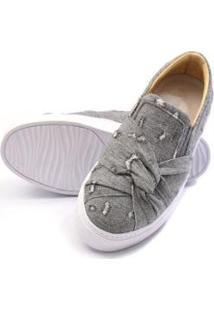 Sapatênis Casual Lucilena Calcados.Net Em Tecido Jeans Feminino - Feminino-Cinza