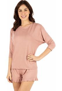 Pijama Curto Babados Homewear Rose - 589.072 Marcyn Lingerie Short Doll Marrom