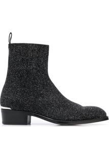 Alexander Mcqueen Ankle Boot Com Glitter - Preto