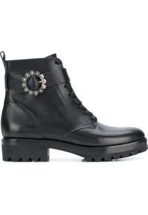 Michael Michael Kors Ankle Boot De Couro - Preto