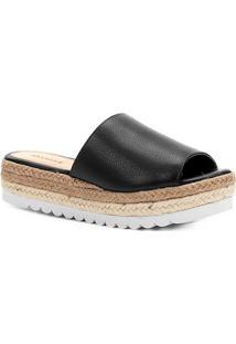 Sandália Plataforma Shoestock Cordas Feminina - Feminino-Preto
