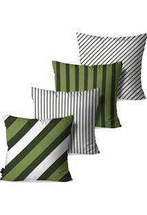 Kit Com 4 Capas Para Almofadas Decorativas Verde Listras 45X45Cm