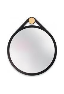 Espelho Decorativo Adnet Flat Preto 40 Cm Redondo
