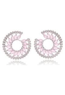 Brinco Soloyou Espiral Luxury Semijoia Em Ródio Branco Com Zircônia Rosa
