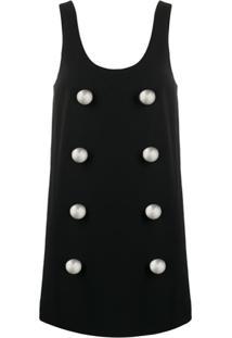 Balmain Vestido Reto Com Abotoamento - Preto