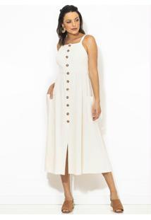 Vestido Midi Alça Larga Botões Off White