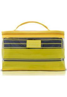 Kit Necessaire 2 Em 1 Jacki Design Listrada Pvc + Microfibra - Unissex-Amarelo