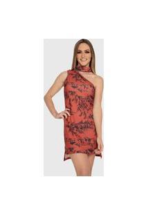 Vestido Carbella Elisa Floral Vermelho Canelado Com Babados Botões Casual Festa