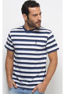 Camiseta Aleatory Listrada Fio Tinto Masculina - Masculino-Azul+Branco