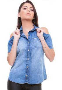 Camisete Ombro De Fora Blue Jeans