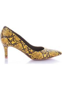 Scarpin Edna Napa Cobra Aisha Gengibre Feminino - Feminino-Amarelo