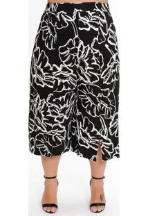 Calça Pantacourt Plus Size Floral Unicor