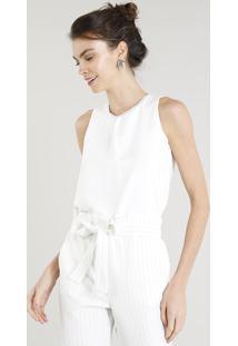 Regata Feminina Com Vazado Decote Redondo Off White