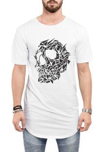 Camiseta Criativa Urbana Long Line Oversized - Masculino-Branco