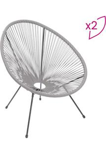Jogo De Cadeiras Tranã§Adas- Cinza & Preto- 2Pã§S-Or Design